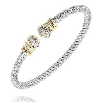 Yellow Gold and Sterling Silver Bangle Bracelet