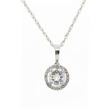 April Birthstone White Topaz Necklace
