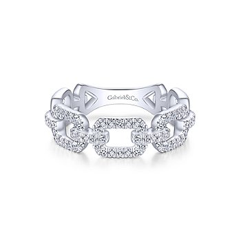 White Gold Pave Diamond Chain Link Ring Band