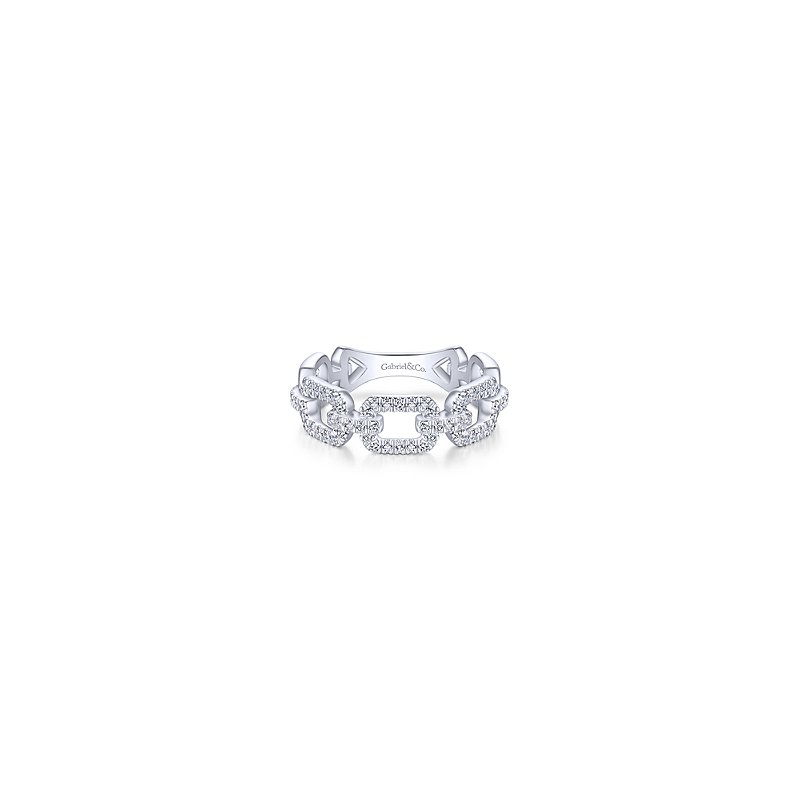 Gabriel & Co White Gold Pave Diamond Chain Link Ring Band