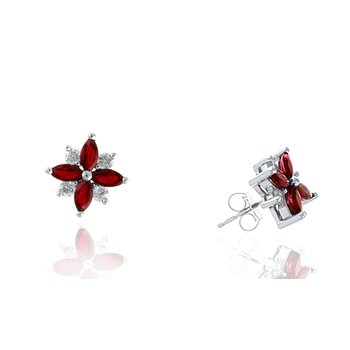 White Gold Ruby and Diamond Stud Earrings