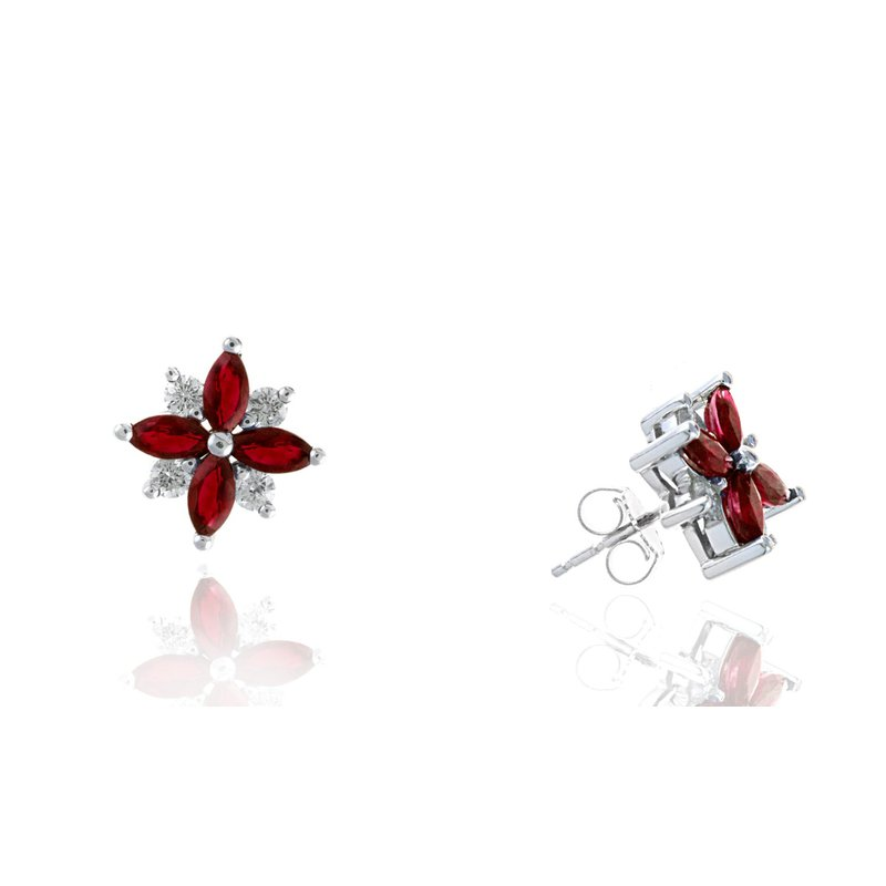 Lauray's Signature Collection White Gold Ruby and Diamond Stud Earrings