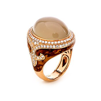 Rose Gold Moonstone and Diamond Fashion Ring