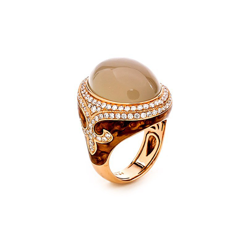 Lauray's Signature Collection Rose Gold Moonstone and Diamond Fashion Ring