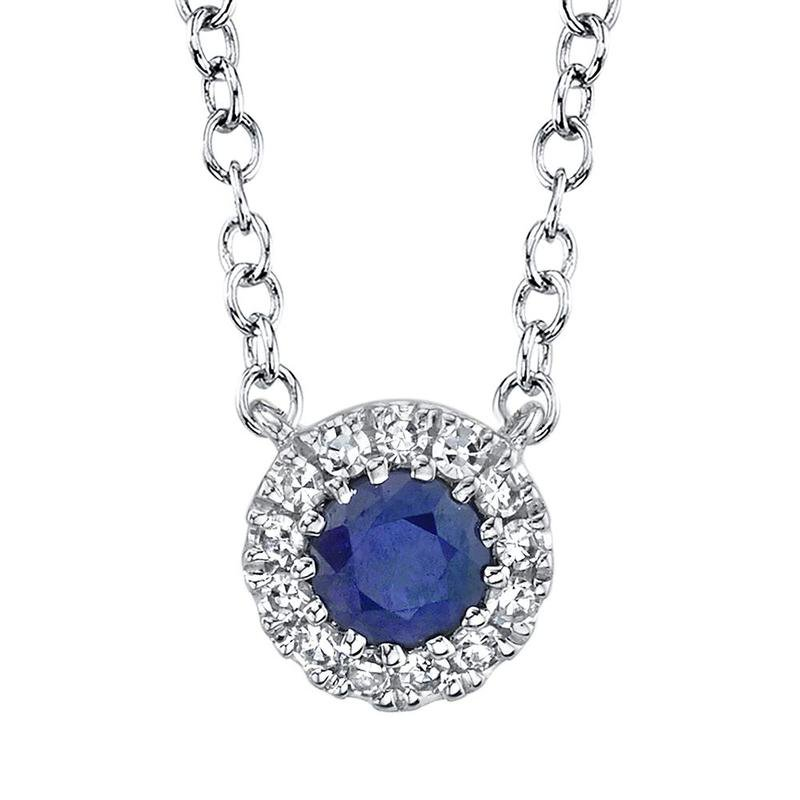Shy Creation Blue Sapphire and Diamond Necklace