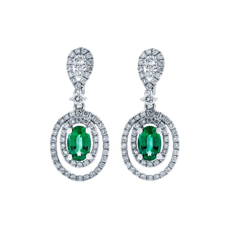Lauray's Signature Collection White Gold Emerald and Diamond Earrings