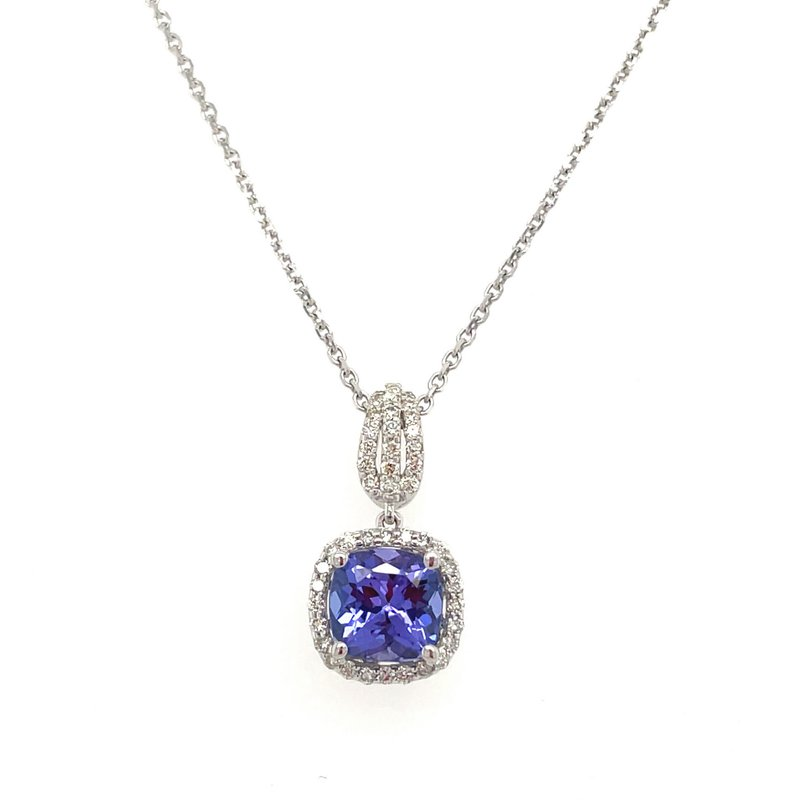 Lauray's Signature Collection White Gold Tanzanite and Diamond Necklace