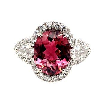 White Gold Pink Tourmaline Ring