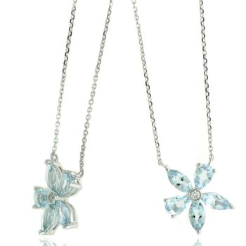 White Gold Aquamarine and Diamond Flower Necklace