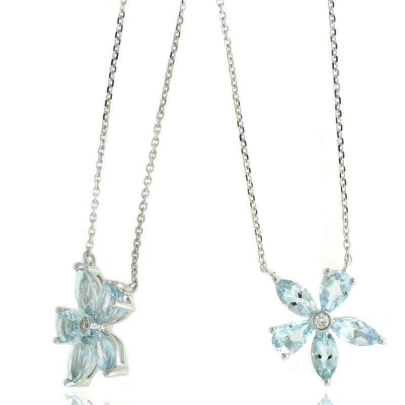 Lauray's Signature Collection White Gold Aquamarine and Diamond Flower Necklace