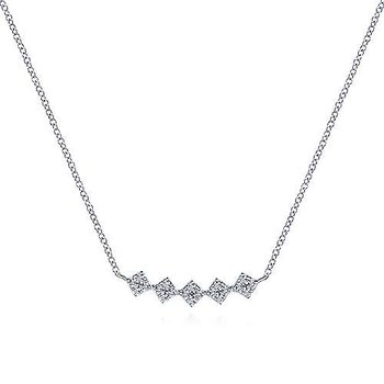 White Gold Square Station Diamond Pavé Curved Bar Necklace