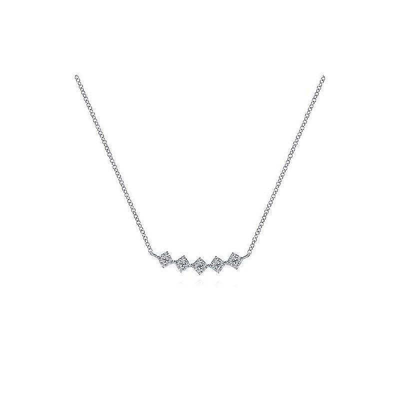 Gabriel & Co White Gold Diamond Pave Bar Necklace
