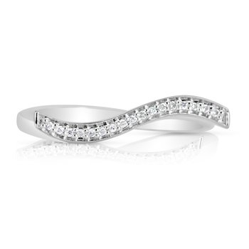 White Gold Diamond Wave Band