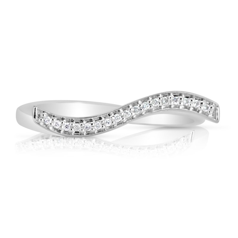 Lauray's Signature Collection White Gold Diamond Wave Band