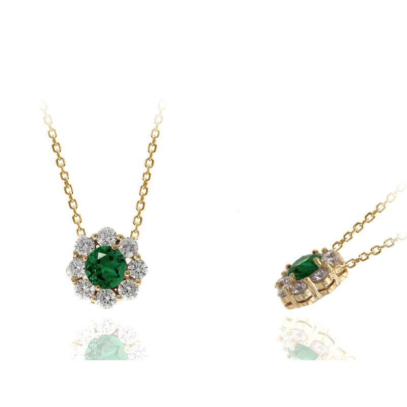 Lauray's Signature Collection Yellow Gold Emerald and Diamond Necklace