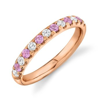 Rose Gold Diamond and Pink Sapphire Band