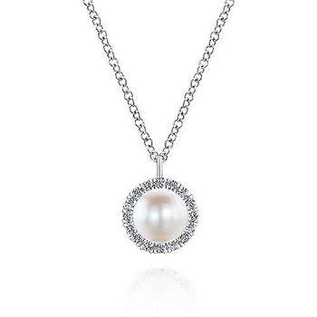 White Gold Cultured Pearl and Diamond Halo Pendant Necklace