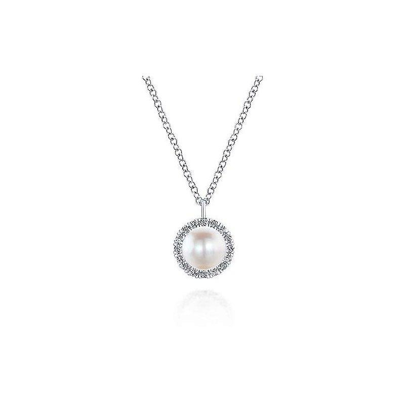 Gabriel & Co White Gold Cultured Pearl and Diamond Halo Pendant Necklace
