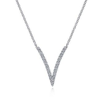 White Gold Split Chain Diamond V Necklace
