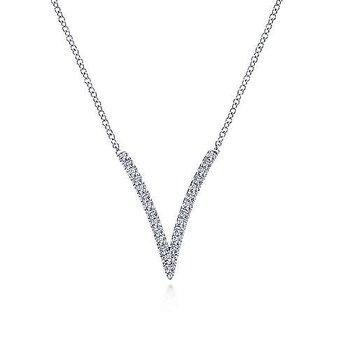 White Gold Split Chain Diamond V Necklace