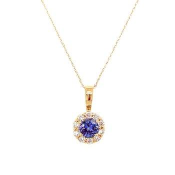 Yellow Gold Tanzanite and Diamond Necklace