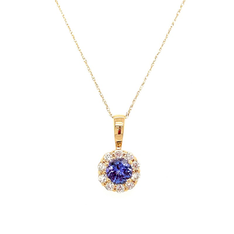 Lauray's Signature Collection Yellow Gold Tanzanite and Diamond Necklace