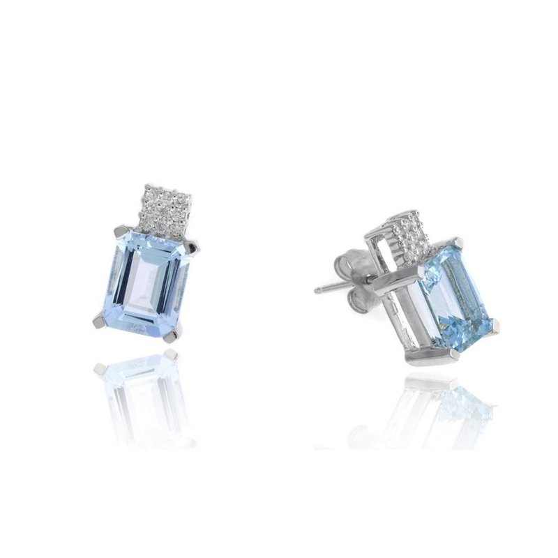 Lauray's Signature Collection White Gold Aquamarine and Diamond Stud Earrings