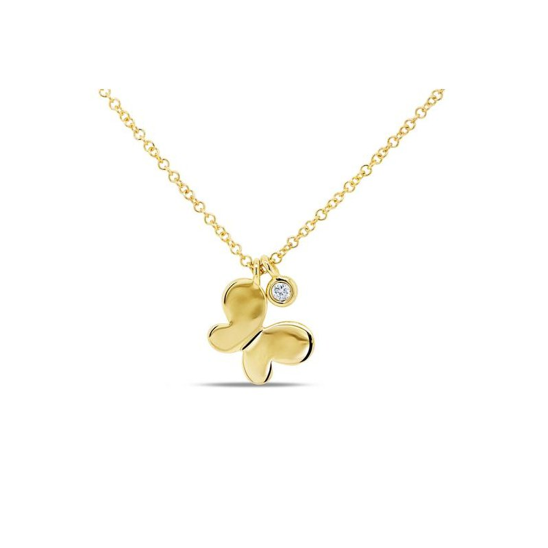 Shy Creation Yellow Gold Diamond Butterfly Necklace