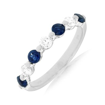 White Gold Blue Sapphire and Diamond Band