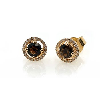 June Birthstone Smoky Quartz Studs