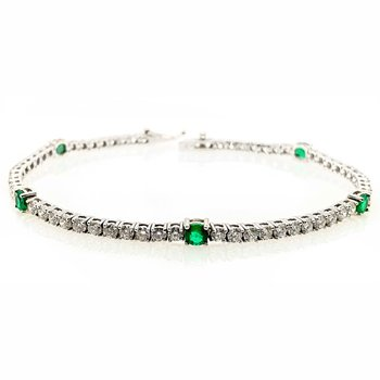Diamond & Emerald Tennis Bracelet
