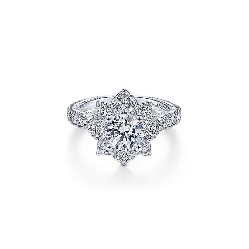 Gabriel & Co White Gold Halo Diamond Engagement Ring