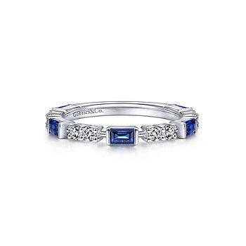 White Gold Alternating Sapphire Baguette and Diamond Ring
