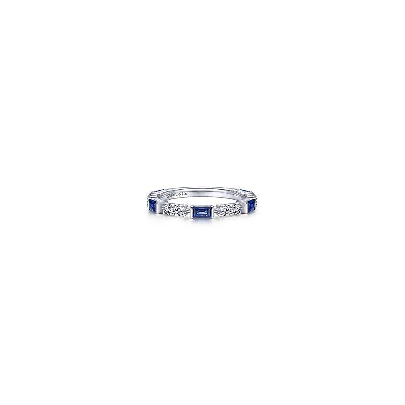 Gabriel Catalog White Gold Alternating Sapphire Baguette and Diamond Ring