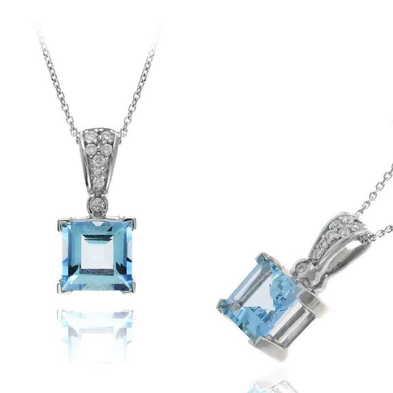 Lauray's Signature Collection White Gold Aquamarine and Diamond Necklace