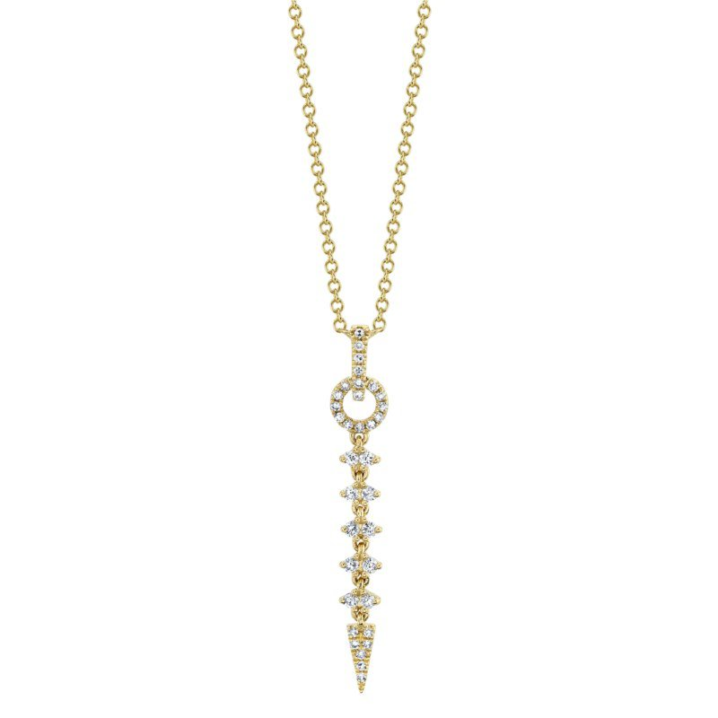 Shy Creation Yellow Gold Diamond Necklace