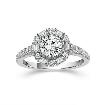 White Gold Round and Baguette Halo Diamond Ring