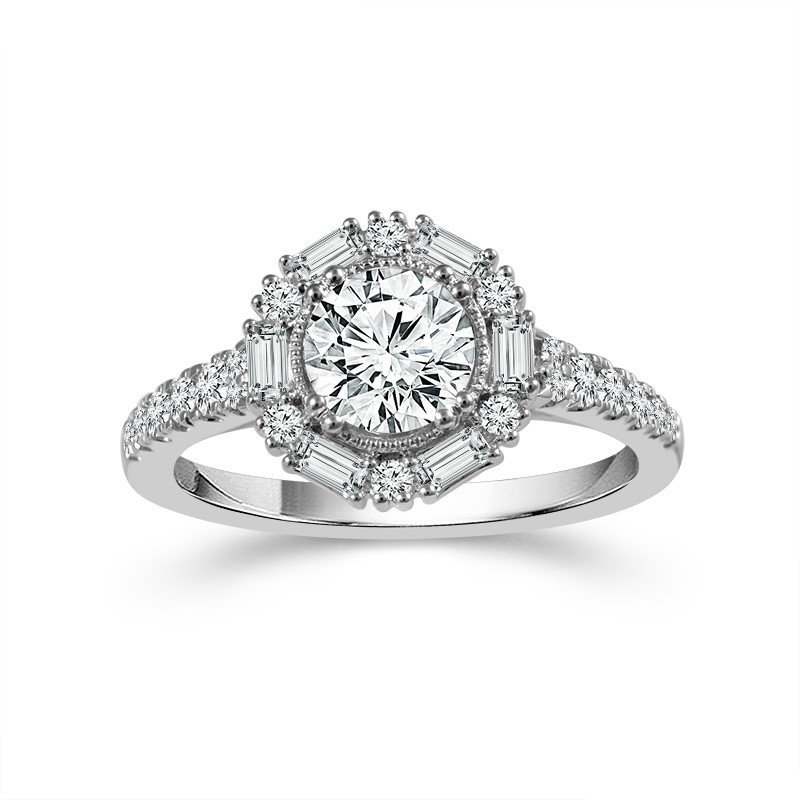 Lauray's Signature Collection White Gold Round and Baguette Halo Diamond Ring