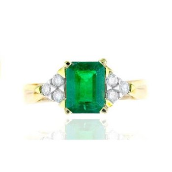 Yellow Gold Emerald and Diamond Ring