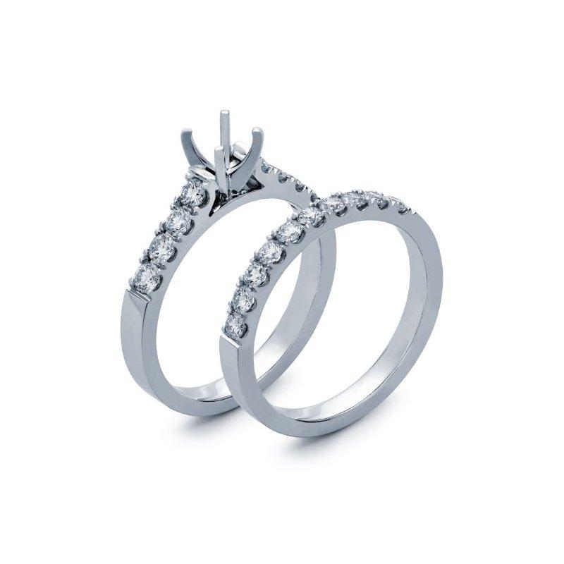 Lauray's Signature Collection White Gold Diamond Semi Wedding Set