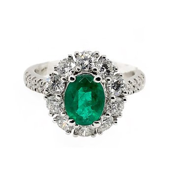 White Gold Emerald Fashion Ring