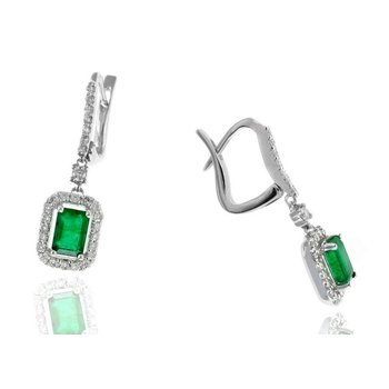 White Gold Emerald and Diamond Drop Earrings