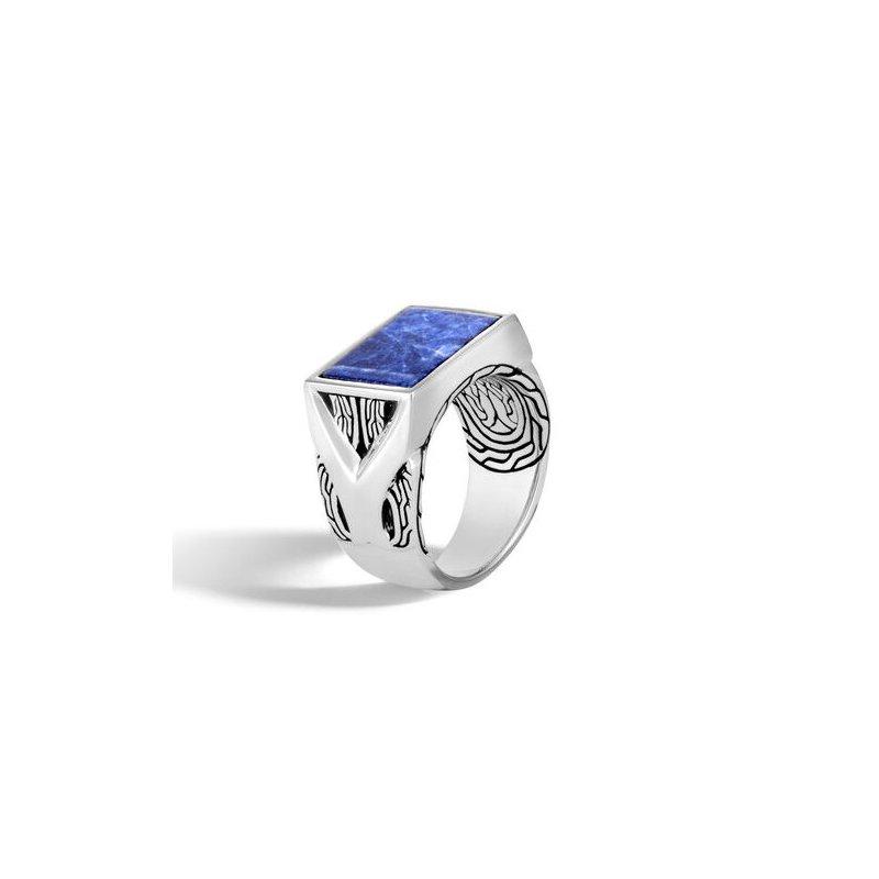 John Hardy Asli Classic Chain Signet Ring with Sodalite