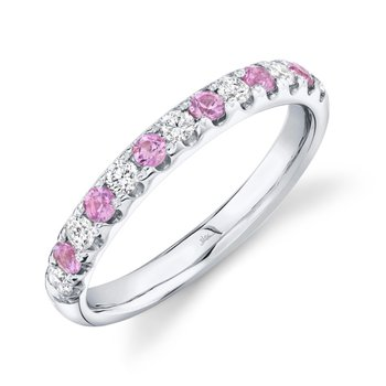 White Gold Pink Sapphire and Diamond Band