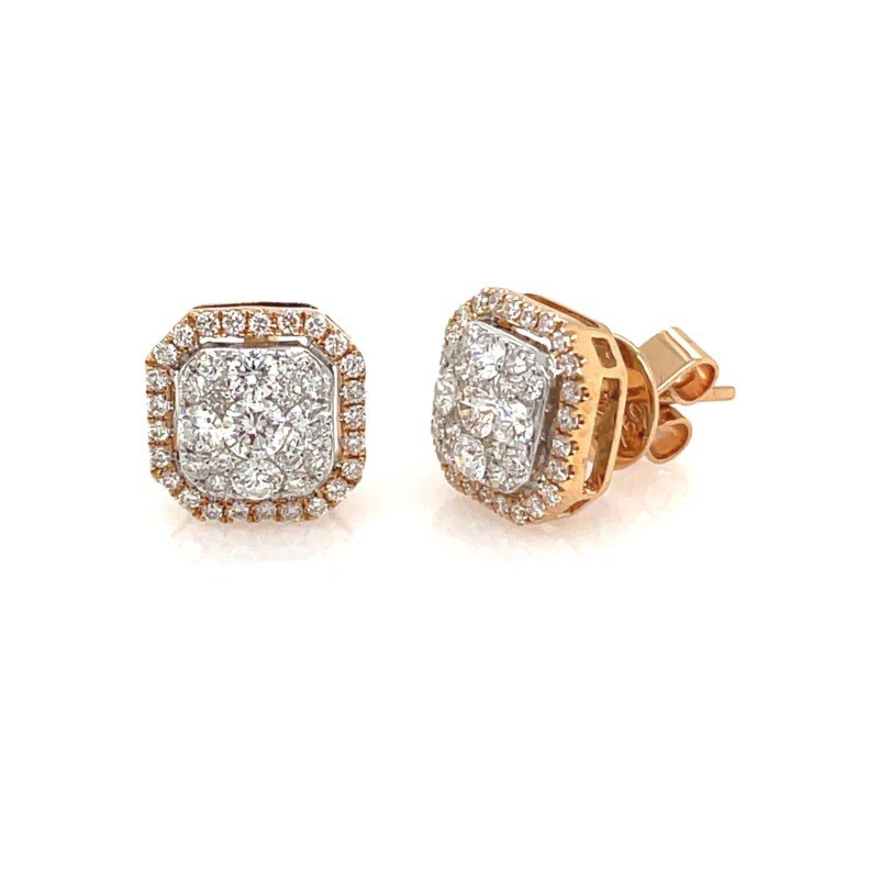 Lauray's Signature Collection Rose Gold Diamond Stud Earrings