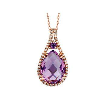 Amethyst Diamond Halo Pear Drop Pendant Necklace