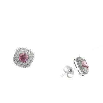 Pink Sapphire Diamond Double Halo Stud Earrings