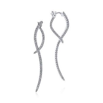 Diamond Sculptural Hoop Drop Earrings
