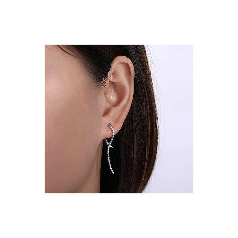 Gabriel & Co. New York Diamond Sculptural Hoop Drop Earrings
