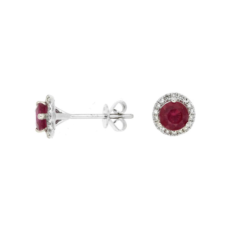 Murphy Pitard Signature Collection Diamond Halo Ruby Earrings